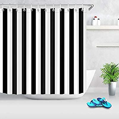 Amazon Com Lb Black And White Shower Curtain Striped Bathroom