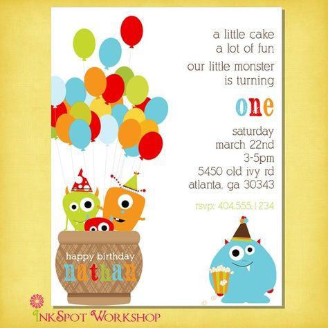 Monster Birthday Party Invitation Reserved For by InkspotWorkshop