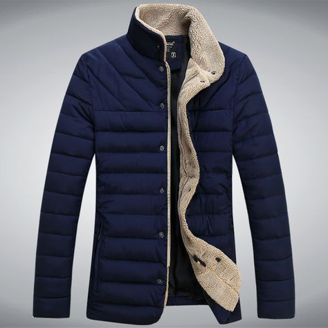 Hurrg Mens Winter Pockets Outdoor Stand Collar Quilted Down Jacket Coat