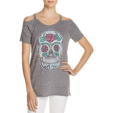 a7d52de8106e0 Chaser Sugar Skull Cold Shoulder Tee ( 66) ❤ liked on Polyvore featuring  tops
