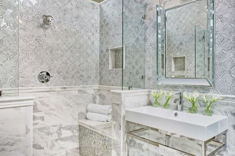 bathroom wall tile - marseille white with moonstone marble