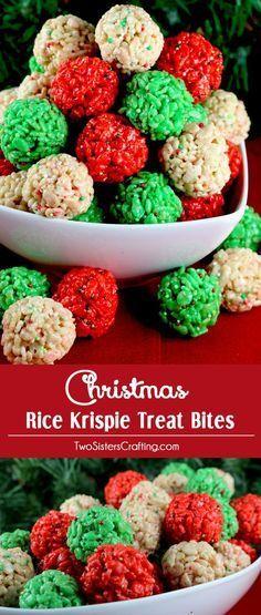 Christmas Rice Krispie Treat Bites