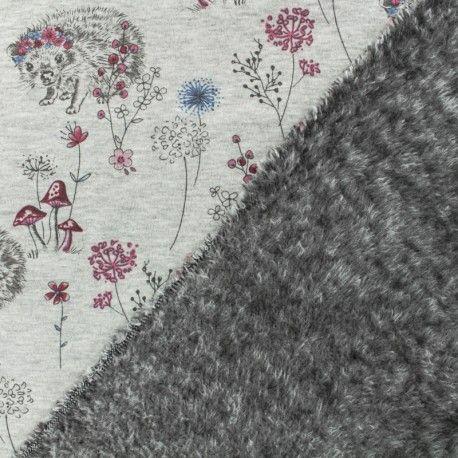 Tissu sweat envers minkee Ninon l'hérisson Grisrose | Les