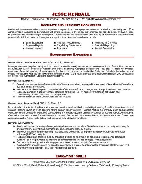Bookkeeper Resume Example  HttpResumesdesignComBookkeeper