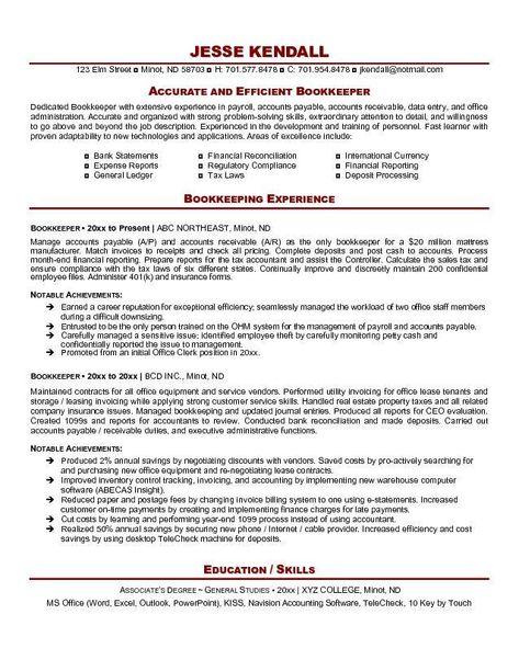 Bookkeeper Resume Example -   resumesdesign/bookkeeper - staff accountant job description