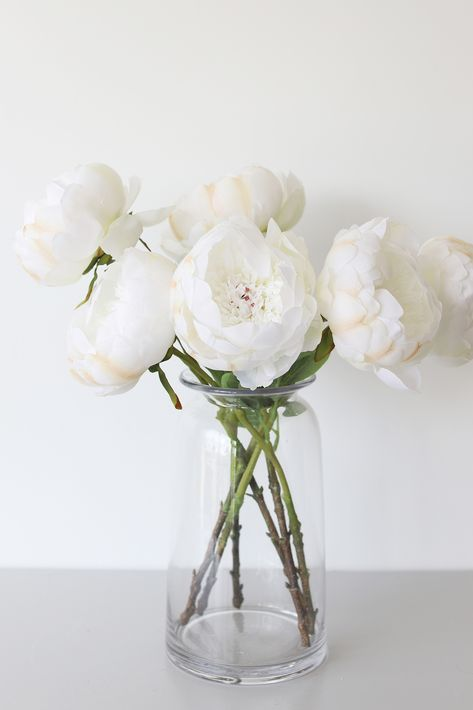Faux Peony Flower in Cream Blush Fake Flowers Decor, Peony Arrangement, Peonies Centerpiece, Artificial Flower Arrangements, Wedding Flower Arrangements, Floral Centerpieces, Faux Flowers, Flower Decorations, Flowers In Home