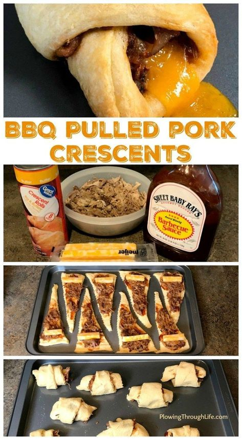 family loves BBQ pulled pork and we're always looking for easy meal ideas. These Easy BBQ Pulled Pork Crescents are the perfect meal, snack or appetizer. Only four ingredients and 20 minutes are needed to have this meal on the table! Pulled Pork Recipes, Easy Dinner Recipes Pork, Easy Pulled Pork, Pulled Pork Nachos, New Recipes For Dinner, Little Lunch, Snacks Für Party, Appetizer Recipes, Bbq Appetizers