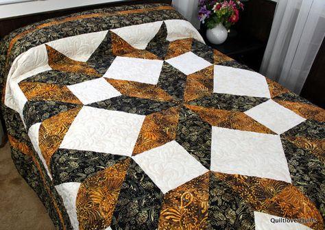 "Queen Size Bed Quilt  CARPENTER STAR 100"" x 100"" Black, Gold and Beige, Manly Gender Neutral Batik Quilt"