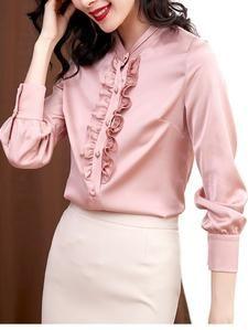Fashion Women Silk Blouses Elegant Satin Blouse Shirt Office Lady Shirt Ruffle Blouse