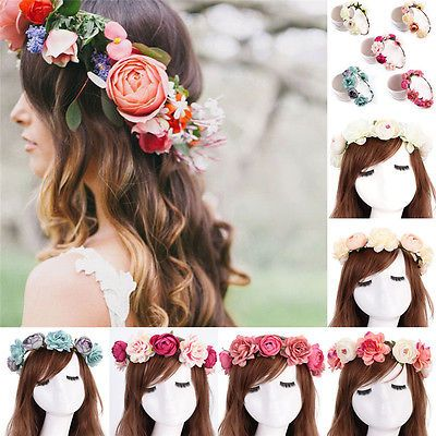 Women Boho Flower Floral Hairband Headband Crown Party Bride Wedding Beach New