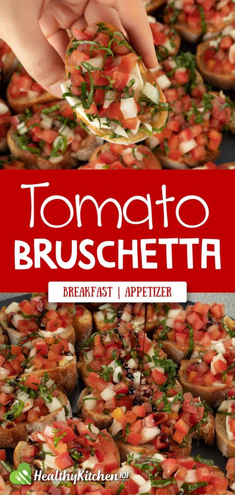 Packed with loads of vegetables like herbs, tomatoes, and onions, this tomato bruschetta takes less than half an hour to make, yet simply tastes phenomenal - perfect for a fast breakfast or a light appetizer. It is truly one of most healthy recipes we've got on Healthy Kitchen 101. #HealthyRecipes #HealthyEating #Italian #Tomato #Bruschetta #TomatoBruschetta #Breakfast #Appetizer #HealthyKitchen101
