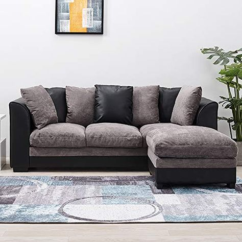 Wellgarden Faux Leather And Fabric 3 Seater Sofa Corner Group Sofa With Footstool L Shaped Sofa Settee Left Or Right Chais Couch With Chaise Sofa L Shaped Sofa