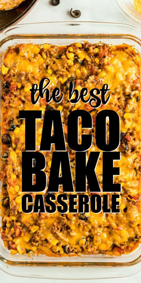 Soft tortillas are layered with beef, seasonings, and toppings to make this cheesy, easy taco bake. It makes a perfect weeknight family dinner. and easy dinner recipes Taco Bake {Super Cheesy} Easy Taco Bake, Easy Hamburger Casserole, Chicken Casserole, Taco Bake Casserole, Casserole Dishes, Taco Casserole With Tortillas, Easy Hamburger Meat Recipes, Mexican Lasagna With Tortillas, Mexican Beef Casserole