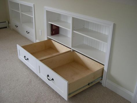 built ins for the upstairs knee walls in the bedrooms....ATTIC?  use slope bottom for drawers....