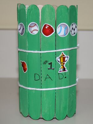 Preschool Crafts for Kids*: Father's Day Popsicle Stick Pencil Holder Craft