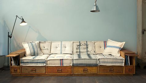 Storage sofa/bed. Like the overall design, but not the cushion fabrics.