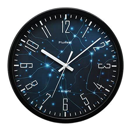Plumeet Silent Wall Clock 10 Non Ticking Quality Quartz Black Wall Clock Decorative Home Kitchen Office School Clock Easy To Read Battery Operated White In 2020 Black Wall Clock Wall Clock