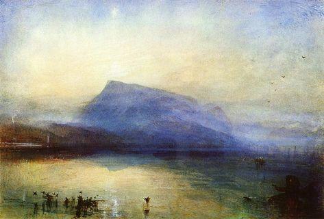 JOSEPH MALLORD WILLIAM TURNER. The Blue Rigi Lake of Lucerne Sunrise, 1842, watercolor on paper.