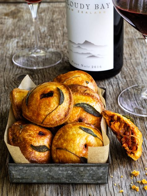 chorizo, pumpkin and caramelised onion hand-pies   donna hay