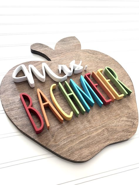 Wood Apple Teacher Name Sign Teacher Classroom Door Decor Teacher Door Signs, Classroom Door Signs, Teacher Door Hangers, Teacher Doors, Wooden Name Signs, Wood Names, Wood Signs, Wood Craft Patterns, Name Gifts