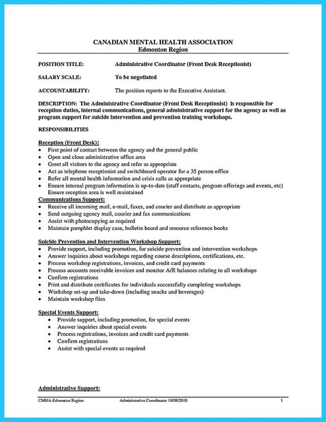 nice Impressive Professional Administrative Coordinator Resume - project coordinator job description