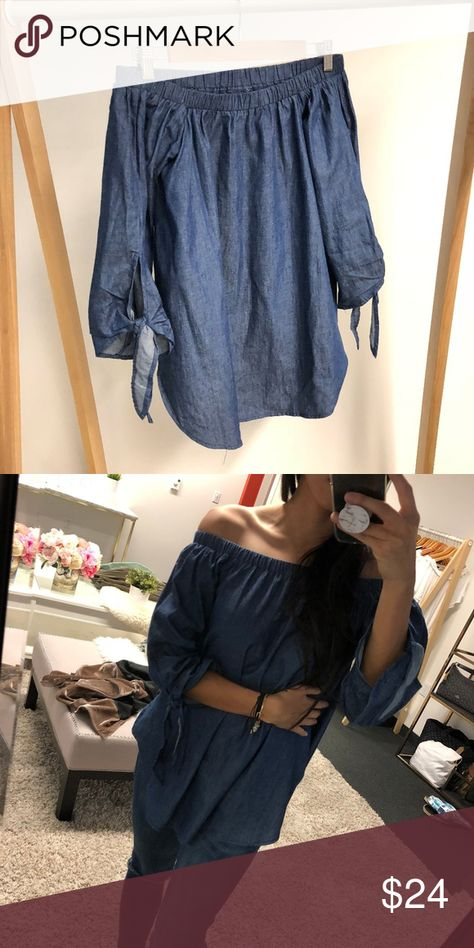 Spotted while shopping on Poshmark: Denim off-the-shoulders Top! #poshmark #fashion #shopping #style #Tops