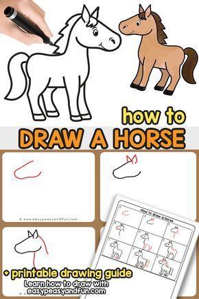 How To Draw A Horse Step By Step Tutorial For Kids Cartooning Drawing Tutorials For Kids Horse Drawing Tutorial Easy Horse Drawing
