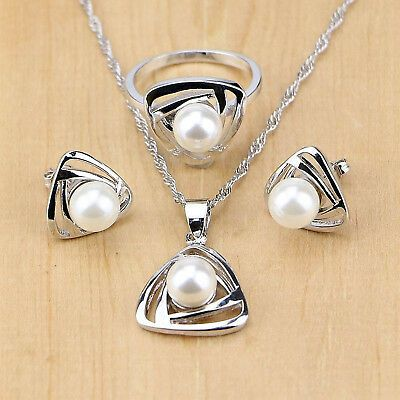 925 Silver Jewelry Set Pearl Beads Wedding Women Earrings Ring Necklace Pendant Silver Jewellery Sets Pearl Jewelry Sets Silver Jewelry Pendant