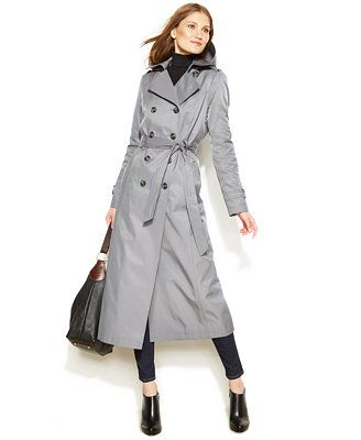 DKNY Hooded Double Breasted Maxi Trench Coat | Damen