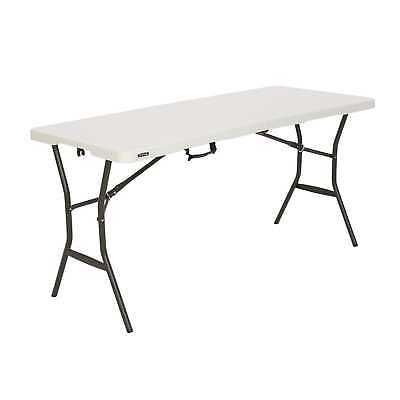 Advertisement Lifetime 5 Essential Fold In Half Table Pearl 280513 Broad Leg Stance Folding Table Fold In Half Table Half Table