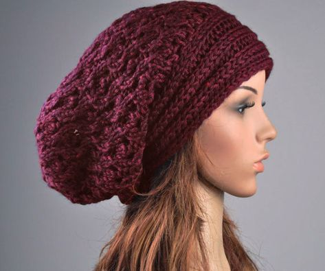 Hand knit hat - Burgundy Chunky Hat with Band 859a00dfdc0
