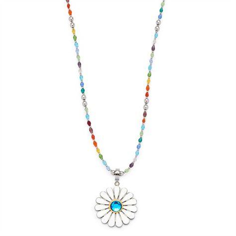 Leonardo Estate Sommer-Kette bunte Steine 015949 https://www.thejewellershop.com/ #leonardo #bunt #glasstein #blumen #flower #anhänger #kette #necklace #jewelry #chain #schmuck
