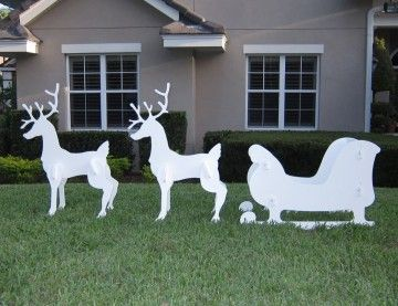 Christmas Outdoor Santa Sleigh And 2 Reindeer Set Indulge Your Loved Ones Price 199 99 Christmas Yard Art Christmas Sleigh Outdoor Christmas