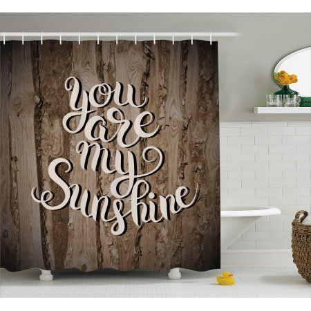 Quotes Decor Shower Curtain Romantic Positive Phrase On Rustic