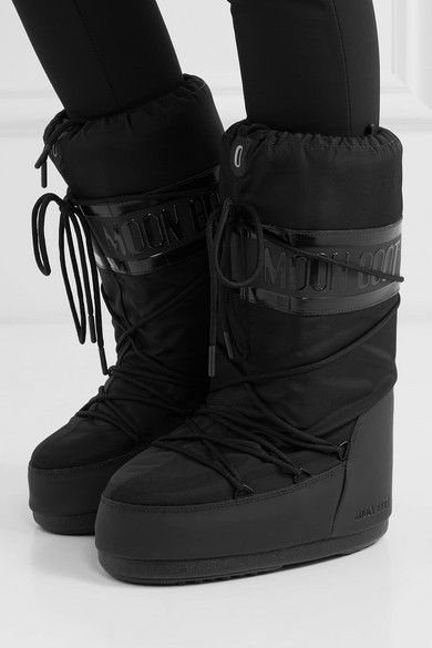 New Moncler Lace Up Rubber Sole Metallic X Moon Boot Boots Womens