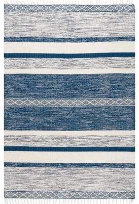 Dakota Fields Lofland Striped Hand Knotted Blue Area Rug In 2021 Striped Kilim Oversized Area Rugs Blue Striped Rug