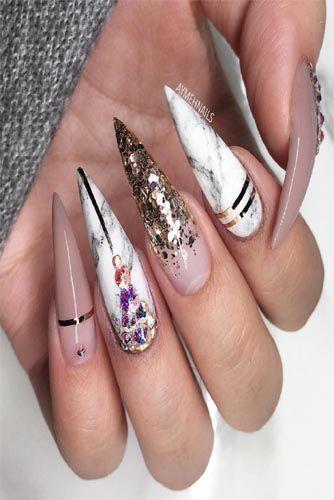 35 Glamorous Wedding Nail Art Ideas For 2020 In 2020 Stiletto