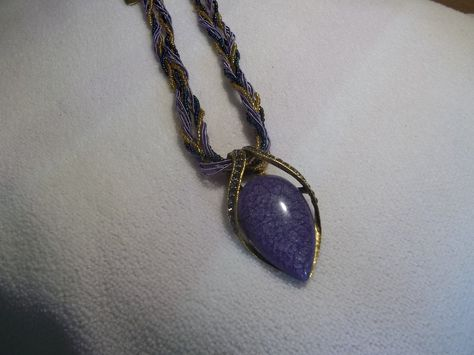 Purple Braided upside down Tear Drop Bead Necklace