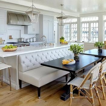 Leather Tufted Dining Bench In Front Of Kitchen Island Kitchen Island Dining Table Kitchen Design Kitchen Remodel