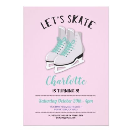 Ice Skating Party Invitations Birthday x 8 with envelopes Write your own