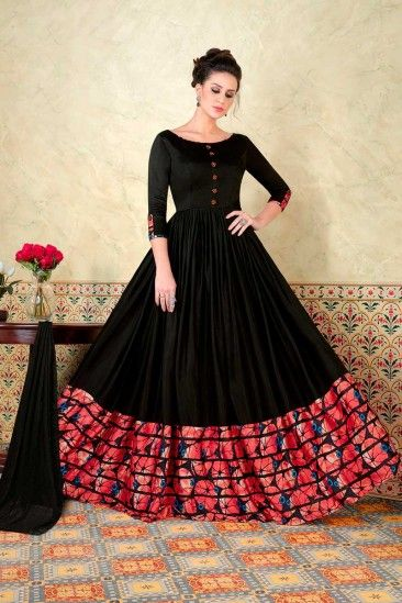 Party Satin Anarkali Suit With Dupatta In Black Color Dmv15161