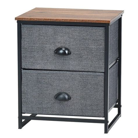 Metal Frame Nightstand Side Table Storage with 2 Drawers