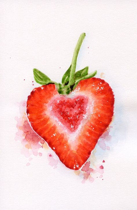 Coeur en forme de fraise - Miniature originale peinture (nourriture Illustration, nature morte, aquarelle alimentaire Wall Art) 4 x 6 po