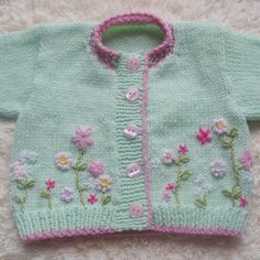 Hand Knit Baby Cardigan ~ Love! Would love to stitch up this precious sweater!