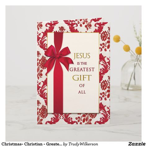 Christmas- Christian - Greatest Gift - Ribbon Holiday Card ...