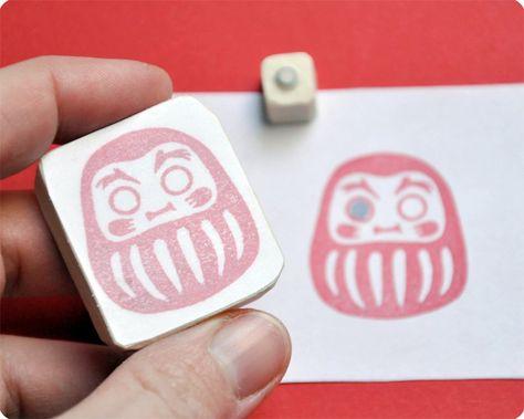 Daruma Japanese doll hand carved rubber stamp set of 2. $20.00, via Etsy.