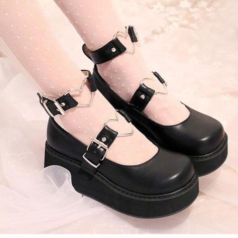 Cheap women pumps, Buy Quality shoes wedge heel directly from China wedge heels Suppliers: Ladies Cute Lolita Shoes Wedge Heel Heart Shaped Embellished Ankle Buckles 2017 New Round Toe Womens Pumps With Platform Estilo Lolita, Kawaii Shoes, Kawaii Clothes, Emo Clothes, Kawaii Goth, Dr Shoes, Me Too Shoes, Shoes Tennis, Basketball Shoes