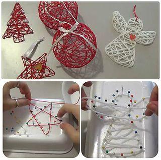 kerst-hanger maken, draad dompelen in houtlijm of textiel verharder om een motief van spijkertjes spannen en laten drogen