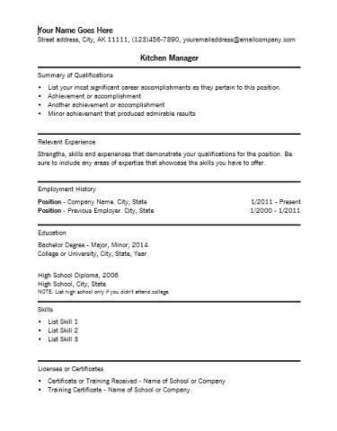 Resume Examples Kitchen Manager Examples Kitchen Manager