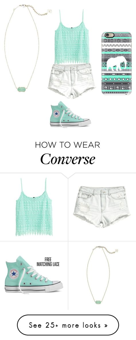"""""""Mint"""" by iminlovewithfashion1 on Polyvore featuring H&M, Kendra Scott, Converse and Casetify"""